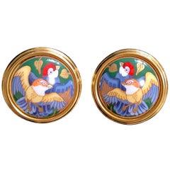 Vintage Hermes round shape cloisonne enamel golden earrings. Bird couple design.