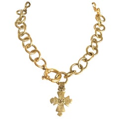 Chanel Vintage round chain statement necklace with cross pendant top and CC mark