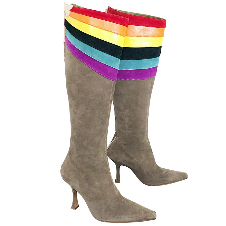 New Ashley Dearborn Size 36 / 6 Gay Pride Pegasus Rainbow High Heel Suede Boots For Sale