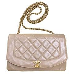Chanel Vintage beige lambskin flap chain Diana 2.55 shoulder bag / purse