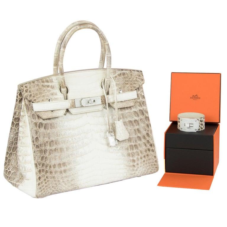 Hermès Birkin Bag 30cm Himalayan Diamond Encrusted  & Matching Kelly GM Bracelet For Sale