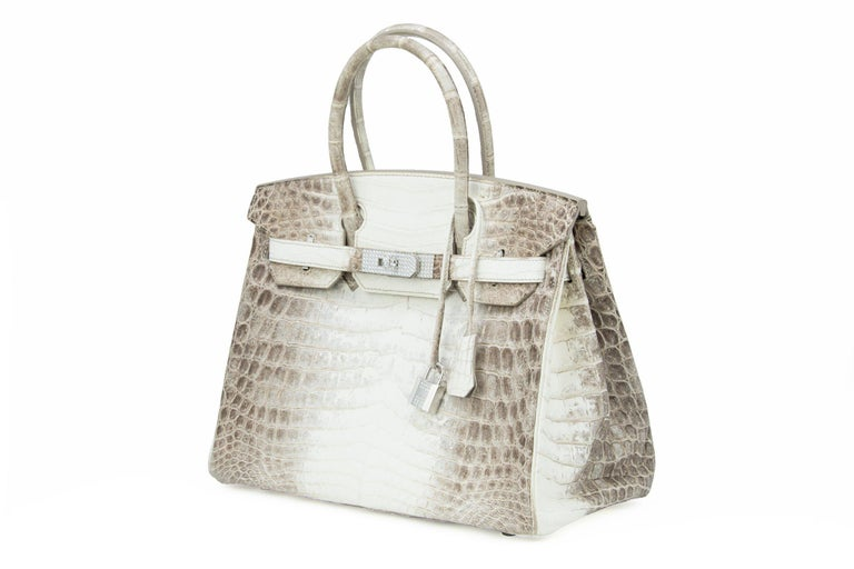 Hermès Birkin Bag 30cm Himalayan Diamond Encrusted  & Matching Kelly GM Bracelet In New Condition For Sale In Newport, RI