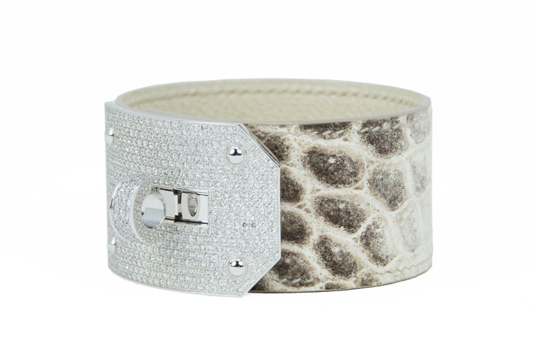 Hermès Birkin Bag 30cm Himalayan Diamond Encrusted  & Matching Kelly GM Bracelet For Sale 10