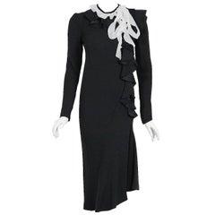 1980 Christian Dior Haute Couture Black Print Silk Deco Ruffle Bias-Cut Dress