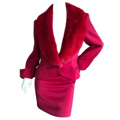 Christian Dior Vintage Red Skirt Suit with Detachable Wide Mink Collar