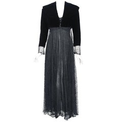 1995 Karl Lagerfeld for Chloe Black Spiderweb Lace Velvet Dress & Jacket w/Tags