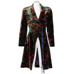 1980s Zandra Rhodes Green Velvet Multicolored Print Tassel Coat