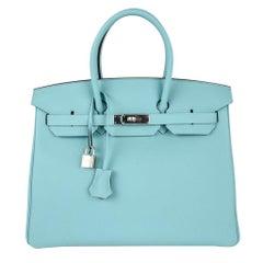Hermes Birkin 35 Bag Fresh Blue Atoll Togo Palladium