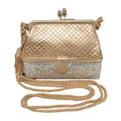 Judith Leiber Gold Leather and Swarovski Crystal Two-tier Evening bag Minaudiere