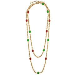 CHANEL Vintage '70s-'80s Red & Green Gripoix Gold Necklace