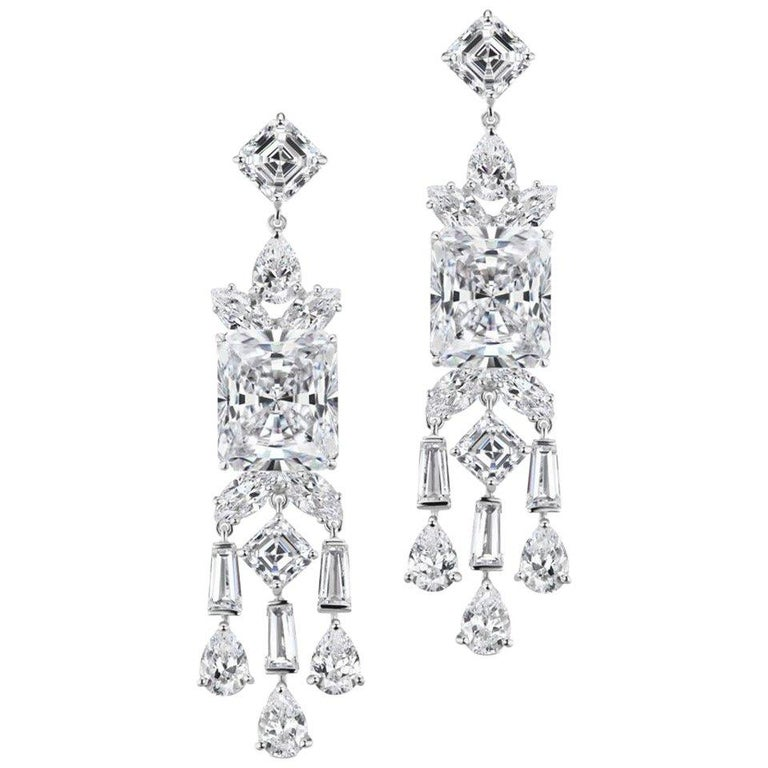 Synthetic Chic Modern Art Deco Style Diamond Fringe Earrings For Sale