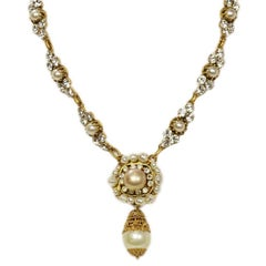 Chanel Vintage 50's-60's Pearl & Strass Crystal Necklace