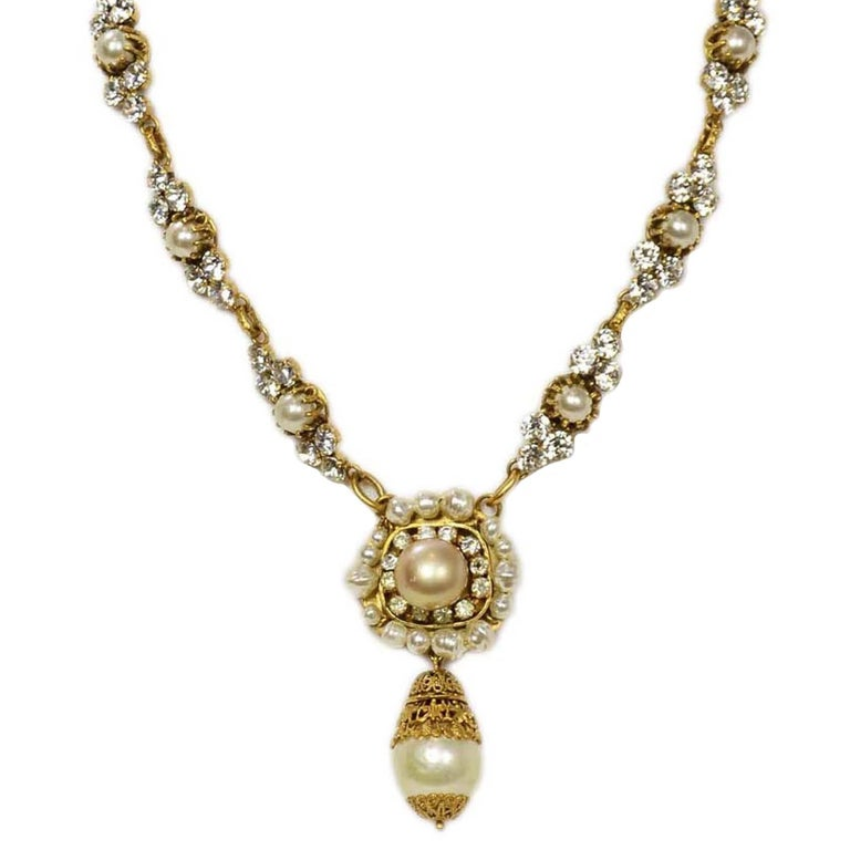 Chanel Vintage 50's-60's Pearl & Strass Crystal Necklace 1