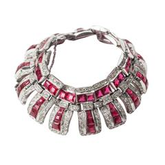 Articulated Art Deco Faux Ruby Bracelet