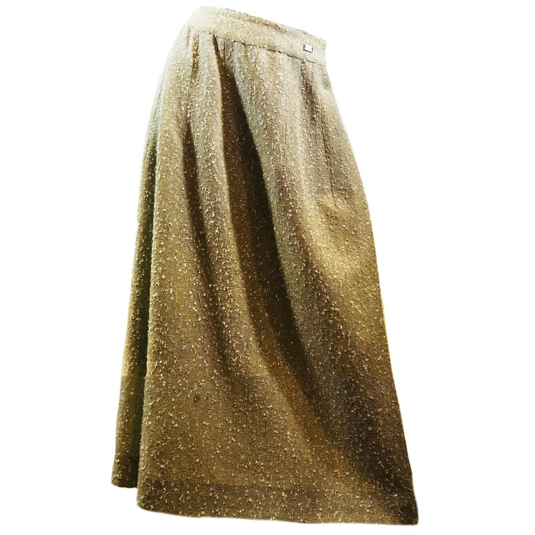 Chanel Taupe Tweed Skirt  For Sale