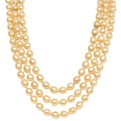 Chanel Vintage '50s-'60s Three Strand Pearl Necklace