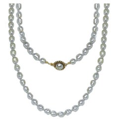 "Chanel Vintage '81 Grey Pearl 36"" Necklace"
