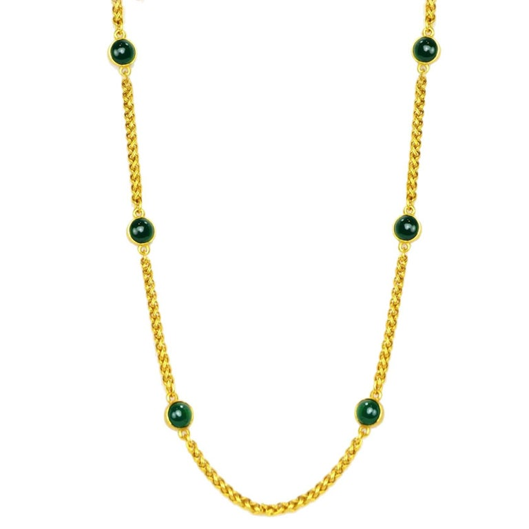 CHANEL Vintage '95 Gold Link & Green Gripoix Necklace For Sale
