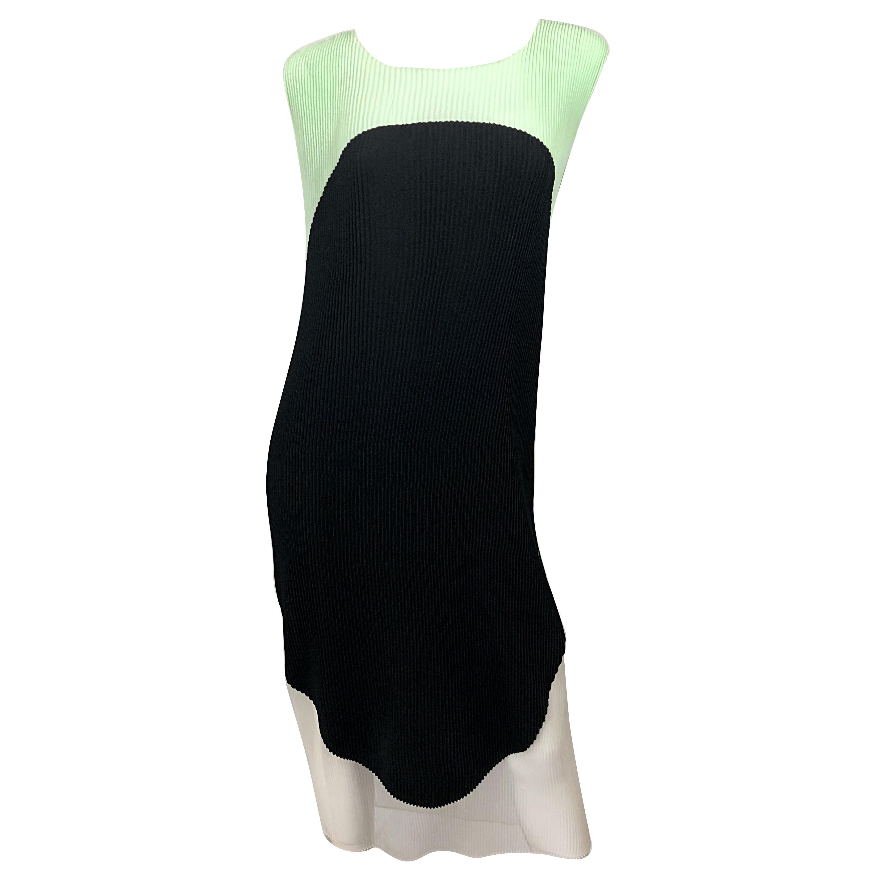 Stella McCartney Spring 2013 Runway Size 44 US 8 - 10 Color Block Pleated Dress