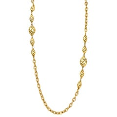 CHANEL Vintage Gold Quilted Pendant Long Strand Necklace