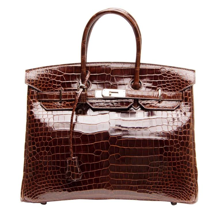 Hermès Birkin Chocolate Brown Porosus Crocodile Bag 35cm w/ Palladium Hardware