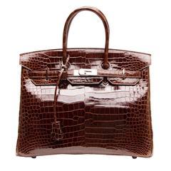 Hermès Birkin Chocolate Brown Porosus Crocodile Bag 35cm w/ Palladium Hardware