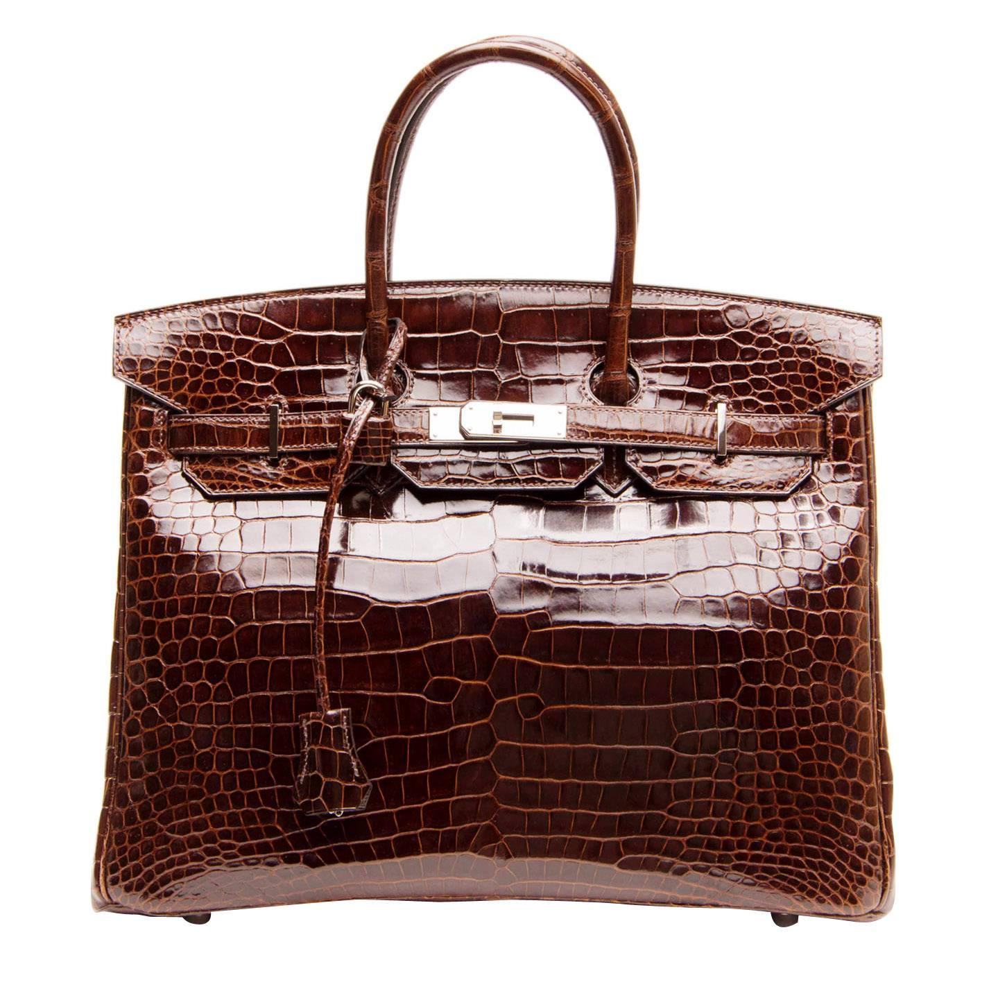 Hermès Birkin Chocolate Brown Porosus Crocodile Bag 35cm W Palladium Hardware For At 1stdibs