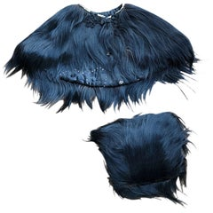 Rare 1930s Monkey Hair Black 30s Vintage Fur Capelet and Muff Clutch