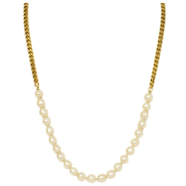 Chanel Vintage '84 Gold Chain & Pearl Necklace For Sale