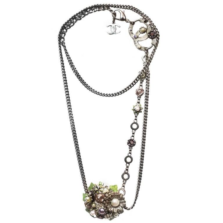 Chanel Silver Flower & CC Chain Belt /Necklace sz L/EU 90 1