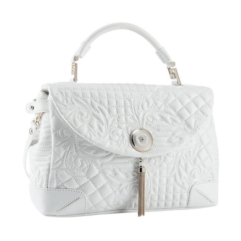 477a36e2c4a5 VERSACE White Leather Barocco Embroidered Altea Vanitas Bag at 1stdibs