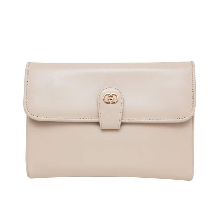 fe161213e0d Gucci Cream Leather Clutch With Detachable Shoulder Strap