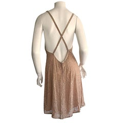 New Vintage Calvin Klein 1990s Size 10 Champagne Glass Beaded Dress Rt. $2,800