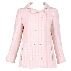 1968 Courrèges Pink & White Checked Double-Breasted Jacket