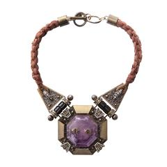 Alber Elbaz For Lanvin Silk Braided Necklace With Amethyst Center Stone