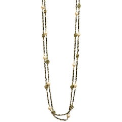 Chanel Vintage '94 Leather Woven Gold Chain Link Necklace