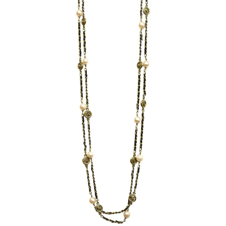Chanel Vintage '94 Leather Woven Gold Chain Link Necklace For Sale