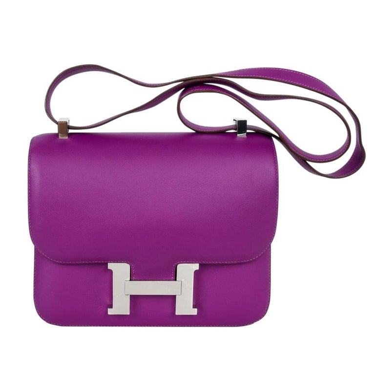 Hermes Constance Rare 24 Anemone Double Gusset Palladium For Sale