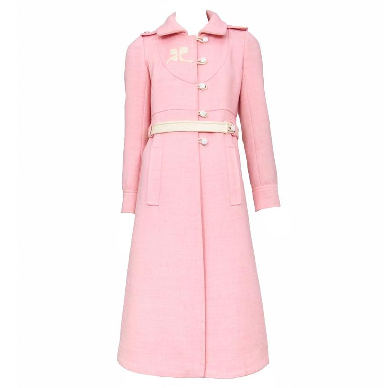Courreges Pink Wool Coat 1