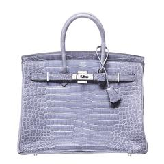 Light Brighton Blue Crocodile Birkin 35cm