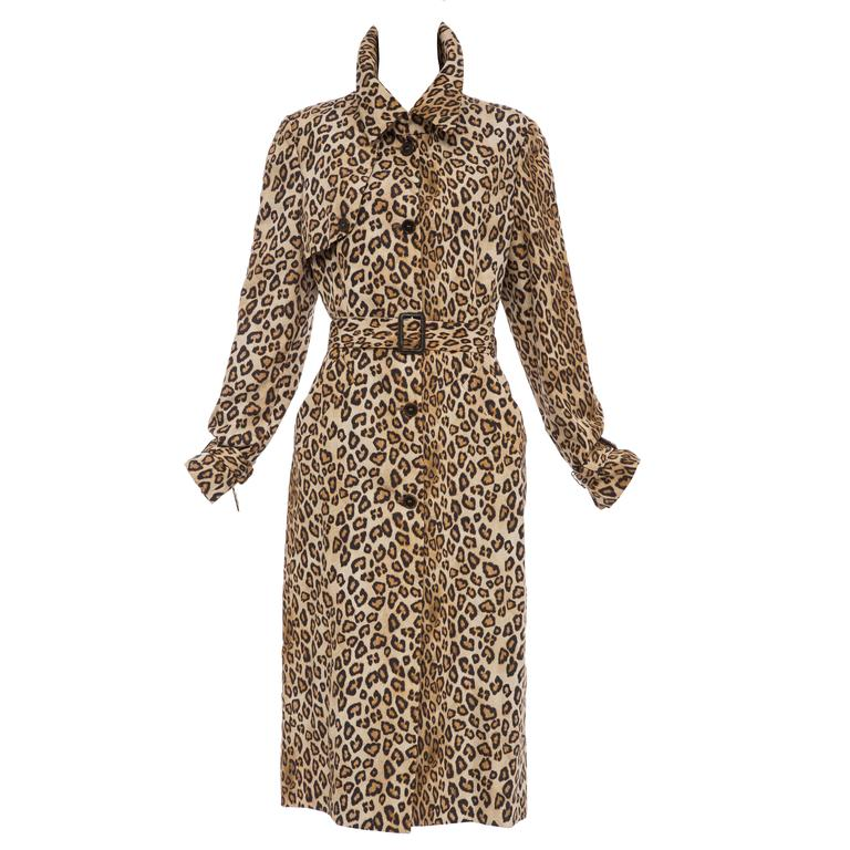 Alexander McQueen Silk Leopard Print Trench Coat, Autumn-Winter 2005 For Sale