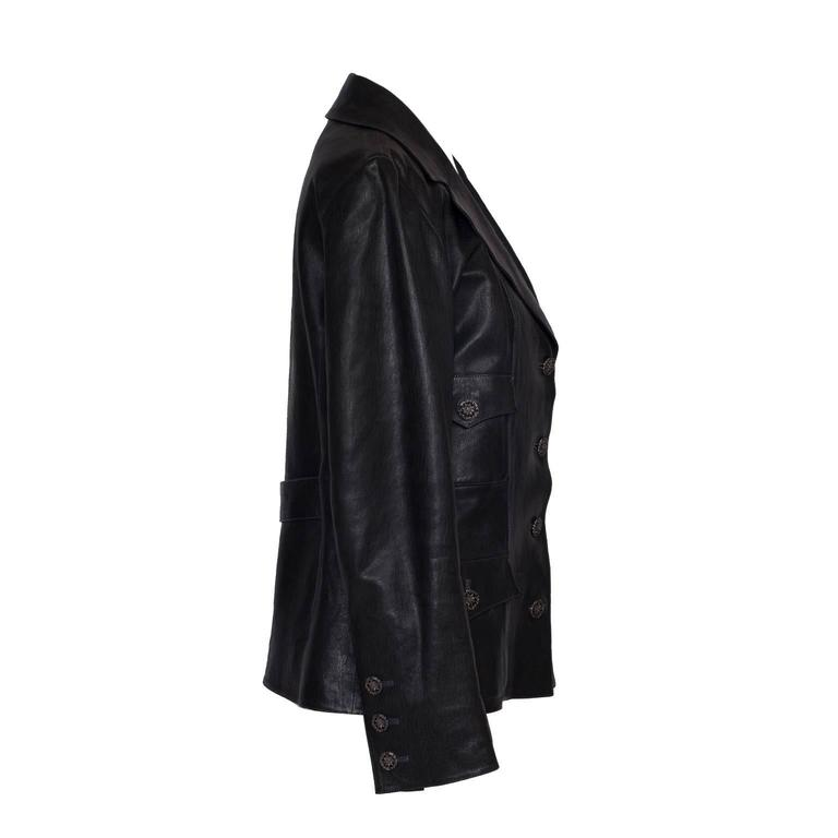 Classic Chanel black jacket in lam skin leather with silk lining. Made in France. Shoulder to shoulder - 38cm Length from center back neck point to hem -  56.5cm Sleeve - 57cm
