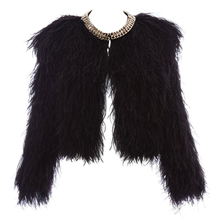 Givenchy Black Ostrich Feather Jacket With Gold Chain Trim ...