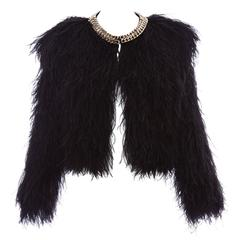 Givenchy Black Ostrich Feather Jacket With Gold Chain Trim Collar