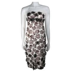 GIAMBATTISTA VALLI White Strapless Floral Print Rhinestone Detail Dress Size 40