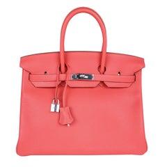 Hermes Birkin 35 Bag Rose Jaipur Pink Clemence Palladium Hardware