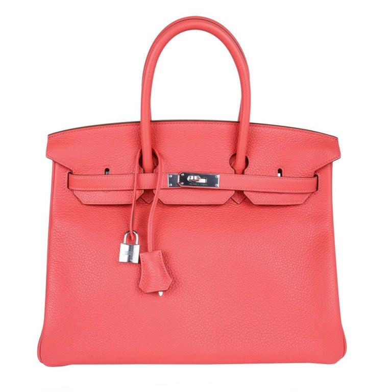 Hermes Birkin 35 Tasche Rosa Jaipur Clemence Palladium