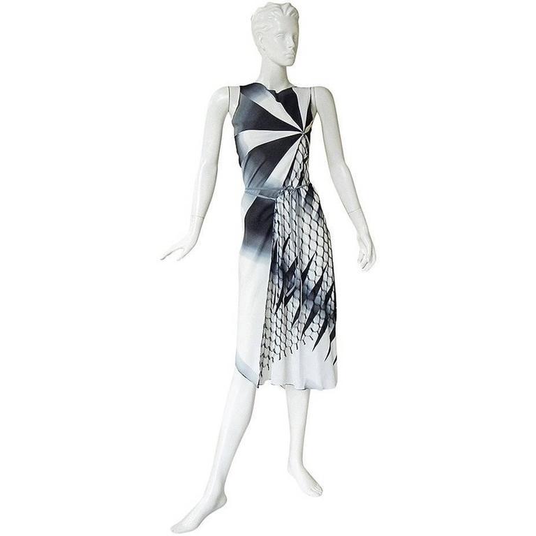 2001 Gaultier Asymmetric Pin Wheel Silk & Lace Runway Ad Campaign Dress 1