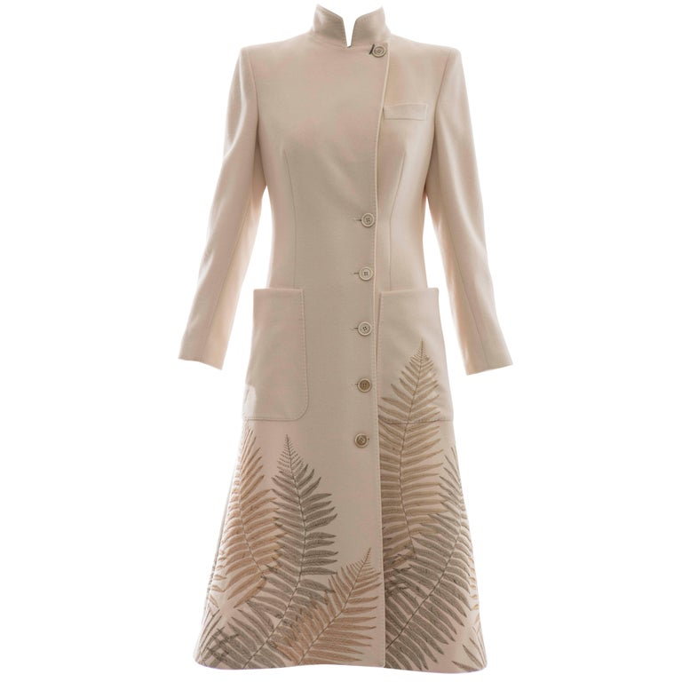 Alexander McQueen Cream Cashmere Coat With Fern Embroidery, Autumn - Winter 2007 For Sale