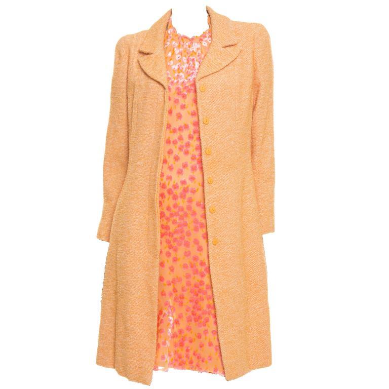 Chanel Voided Velvet Halter Dress And Coat Ensemble, Cruise 2001